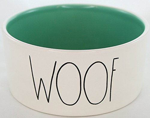 Rae Dunn Magenta Ceramic Large Dog / Cat Pet Bowl Woof 6 Inch - Sea Foam (Treasures Ceramic Mug)