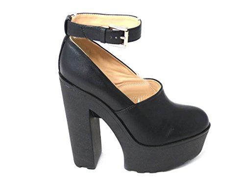 Damen-Plateau-Schuhe mit Blockabsatz, rutschhemmender Sohle und Knöchelriemen, mit Reißverschluss, in den Größen 35, 37, 38, 39, 40, 42,verschiedene Designs Black Ankle Strap Shoe