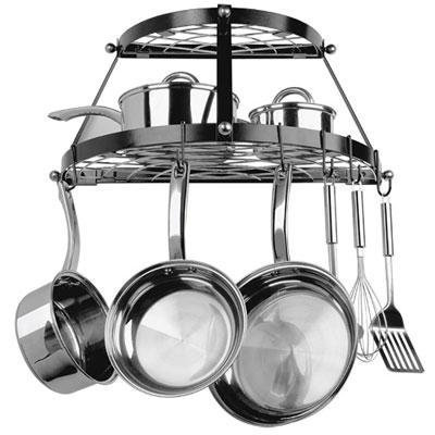 Rangekleen Home Kitchen Gadgets Cooking Utensils Pot Rack Double Shelf Black Enamel