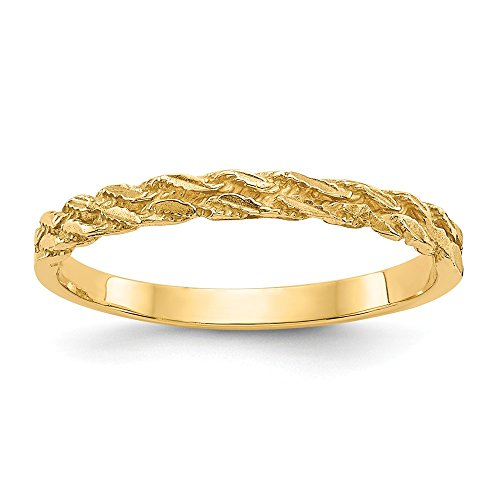 14k Yellow Gold Rope Band Ring Size 6.75 Fine Jewelry Gifts For Women For Her