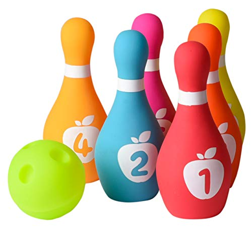 Playkidz Soft Baby Bowling Set 7-Piece Soft Bowling Game for Boys & Girls w/Colorful Numbered Pins & Ball Safe, Great Toy for Indoor or Outdoor Birthday, Toddler & More Ages 18M+ ()