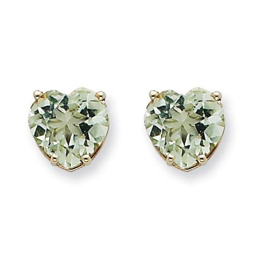 14k White Gold 8mm Heart Green Amethyst Earrings Gem Wt- 3.4ct. Metal Wt- 0.91g