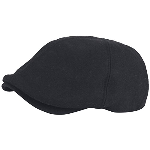 RaOn G68 Men Big Plus Size Plain Wool XL XXL Newsboy Cap Cabbie Flat Golf Gatsby Hat (Black)