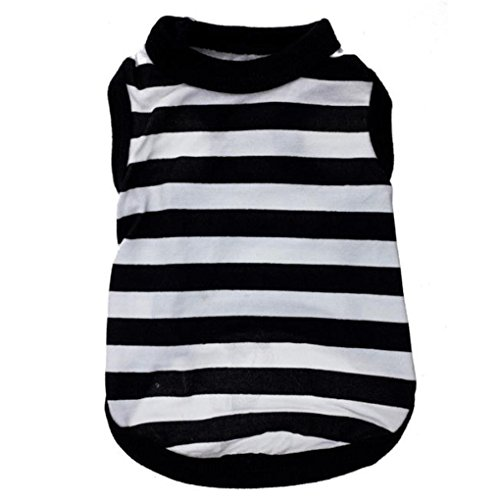 Price comparison product image Pet Clothes,Haoricu lack And White Stripes Stretch Vest Dog Pet Clothes Clothing Small Coat Dog Vest (XS, Black)