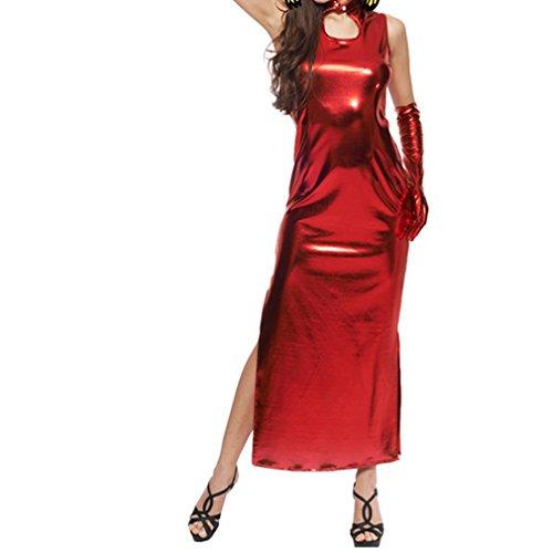 Masquerade Halloween cosplay set BDSM Fetish Bondage Fetter Flirting Sex costume kit,Red patent-leather Bunny Girl (2)