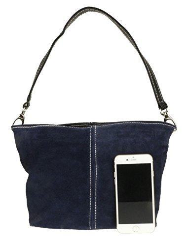 Leather Shoulder Navy Craze Suede London Handbag Womens New Tote Bag Genuine XqxSZFw