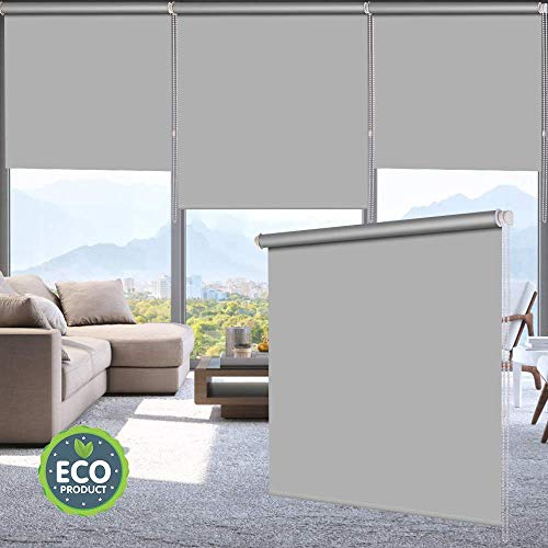 LUCKUP 100% Blackout Waterproof Fabric Window Roller Shades Blind, Thermal Insulated,UV Protection,for Bedrooms,Living Room,Bathroom,The Office, Easy to Install 28″ W x 79″ L(Grey)