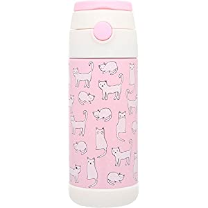 Snug Flask for Kids - Vacuum Insulated Water Bottle with Straw (Cats)