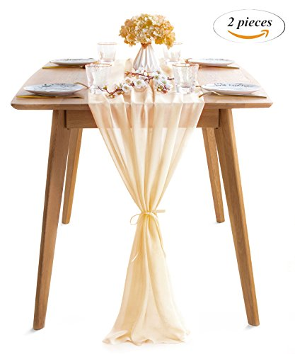 Ivory Custom 2 Ribbon - SoarDream 2 Pieces of Chiffon Table Runner 27x120-Inch Ivory Dining Room Table Runners Romantic for Wedding Table Bridal Shower Party Reception Decor