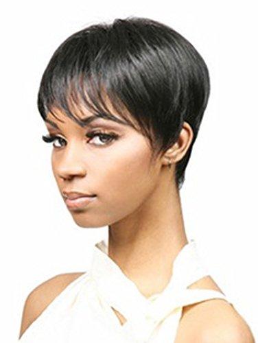 AmorWig Boycut Heat Resistant Short Black Straight Hair Wig for Women + Wig Cap