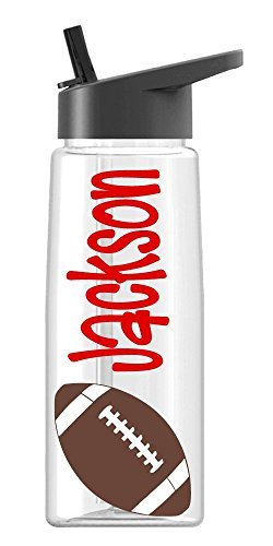 (Personalized Drink ware Football design with name, BPA Free, vinyl design, by De La Design Gifts (26 oz Regular))