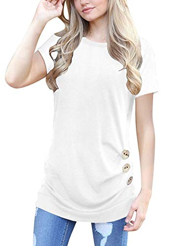 Sleeve Casual Round Neck Loose Tunic Top Blouse T-Shirt (XL, 00 White) ()