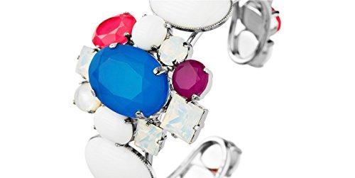 Philippe Ferrandis Bracelet manchette Bounty, cristal Swarovski, pâte de verre, bleu, Ø65mm