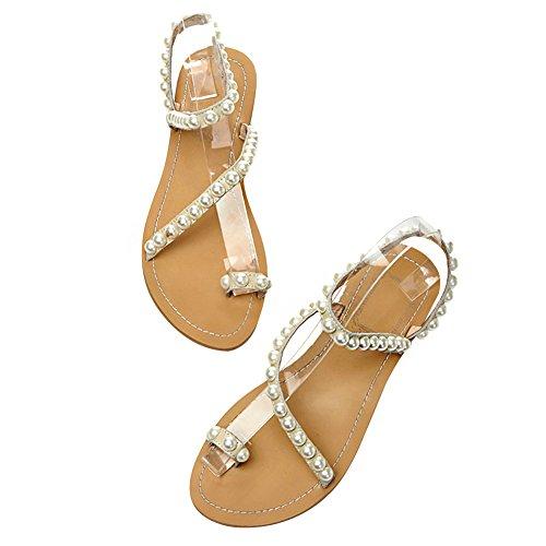 Jamron Mujer Calidad Superior Piel Genuina Lujo Perlas Tachonado Plano Anillo de Dedo Sandalias Talla Grande Beige