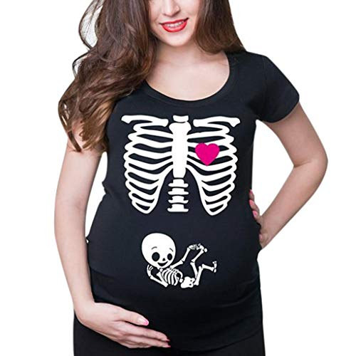 Punk Rock Looks For Halloween (Womens Maternity Pregnant Casual Short Sleeve Halloween Skeleton Print T-Shirts Sweatshirt Tops Pullover Blouses)