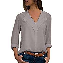 Adeliber Fashion Women S V Neck Chiffon Solid Color T Shirt Office Women S Solid Color Roll Sleeve Shirt Top Gray