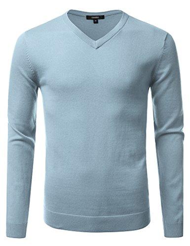 [IDARBI Men's V-Neck Long Sleeve Pull Over Sweater Top BLUE M] (Long Sleeve Woven Sweater)