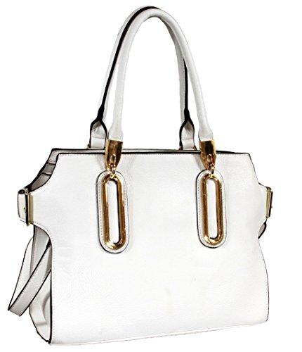 Akilah Elegant Designer Inspired Faux Leather Tote Shoulder Handbag - White