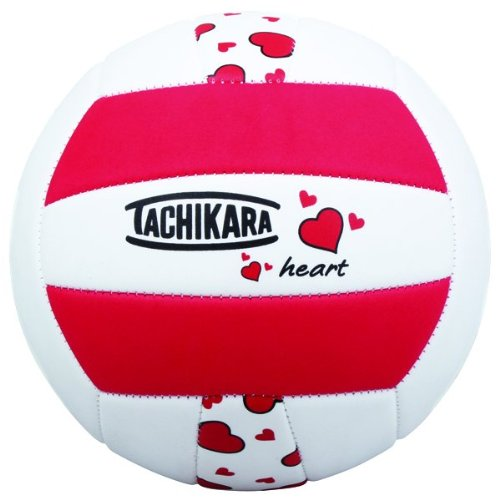 Tachikara HEART Sof-Tec Heart Indoor/Outdoor Volleyball (Red/Black/White), Official Size