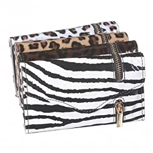Zipper Flip PU Leather Pouch Wallet Credit Card Case For iPhone 5C --- Animal:Black
