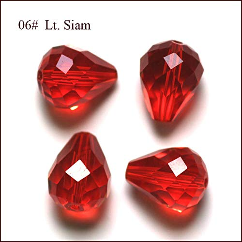 Calvas 100pcs/Bag Top AAA Grade Quality 48 Faceted 8x6 10x8 12x10mm Teardrop Crystal Glass Quartz Drop Beads for Jewelry Making AAA12 - (Color: lt siam, Item Diameter: 8x6mm) ()