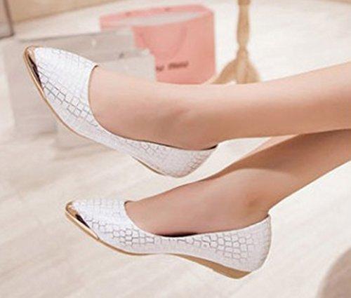 Ballerines Pointu Aisun Bout Talon Confort Blanc Plat Femme 66qaBwY