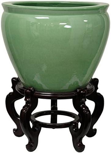 Oriental Furniture 20″ Celadon Porcelain Fishbowl