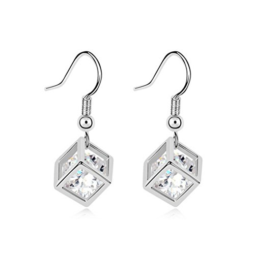 Face Pac Man (The Starry Night Love Square Frame White Zircon Silver Plated Dangle Earring (Women,Girls))