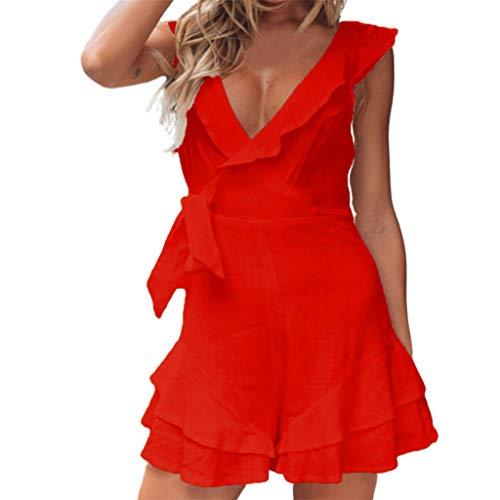 (Lloopyting Women's Fashion Casual Sexy Deep V Solid Color Short Mini Dress Ruffled Backless Sleeveless Mini Beach Skirt Red)