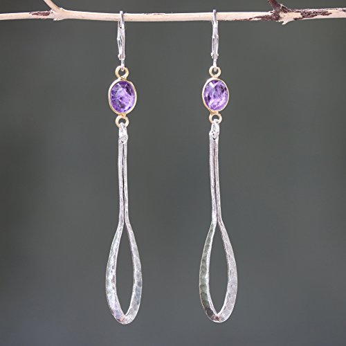 Silver Amethyst Leaf - Amethyst earrings in gold plated bezel setting and silver leaf on sterling silver hook style