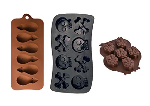 PopBlossom 3 Pack Combo Silicone Molds Trays, Owl, Rate and Skull with Crossbones Homemade Halloween Treats, Baking Chocolate Candy, Oven, Microwave and Freezer Safe
