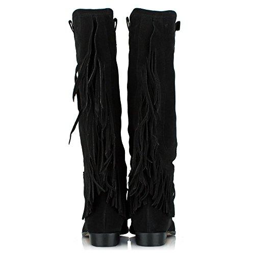 DF Boot Black By Fringed Suede Suede Black Riverdale Daniel Knee TfqTwr0g