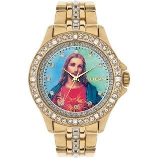 Elgin Crystal Watch (Elgin Men's Jesus Christ Graphic Dial Crystal Accented Gold-Tone Watch FG9116)