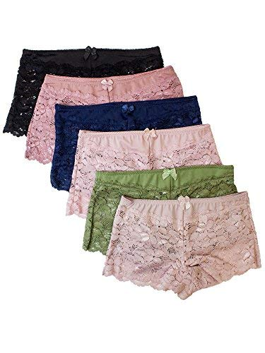Barbra 6 Pack Women's Regular & Plus Size Lace Boyshort Panties(2XL) (Lace Hipster Panties)