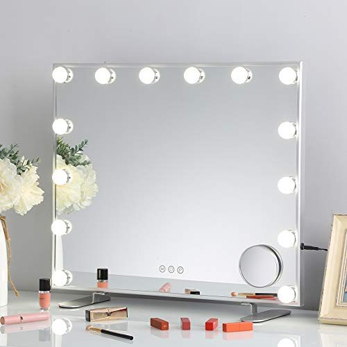 FENCHILIN Large Vanity Mirror with Lights Hollywood Vanity Makeup mirror with 3 Colors Dimable Lighting, Smart Touch Control Detachable 10X Magnification White