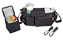Universal Baby Stroller Organizer –Black Universal Stroller Caddy with Detachable Wristlet, Insulated Cool Bag Insert and Multi-Pocket Storage – Adjustable Shoulder Strap and 2 Bonus Stroller Hooks