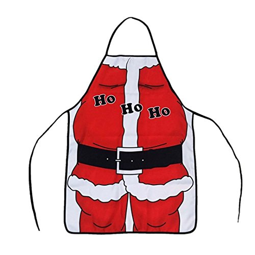 Costumes Barista (Unisex Christmas Santa Kitchen Apron, Women's Men's Santa Claus Costume Christmas Decoration Party Props Home Restaurant Bistro Waiter Chef Aprons Cooking Baking BBQ Bib Apron Housewarming Xmas)