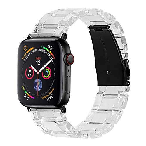 Joyozy Fashion Resin Band Compatible with Apple Watch 38mm 40mm, Stainless Steel Buckle iWatch Band Bracelet for Apple…