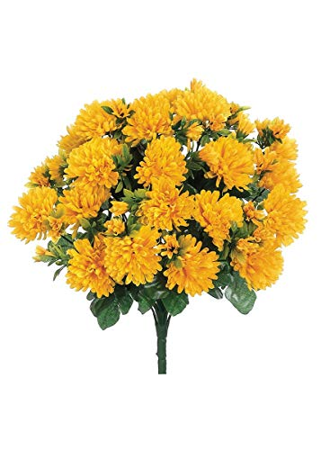 Afloral Value Silk Mum Bush in Golden Yellow - 15