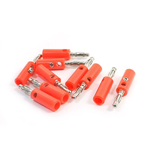 10 Pcs Red Audio Speaker Cable Connector Head 4mm: Electronics
