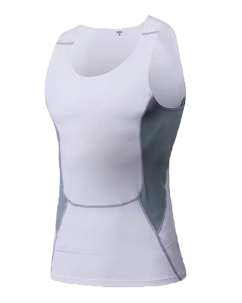 Aden Herren Kompressions Tanktop Sportshirt /Ärmellos Schnell Trocknend Funktionsshirts Fitness Basketball Laufen