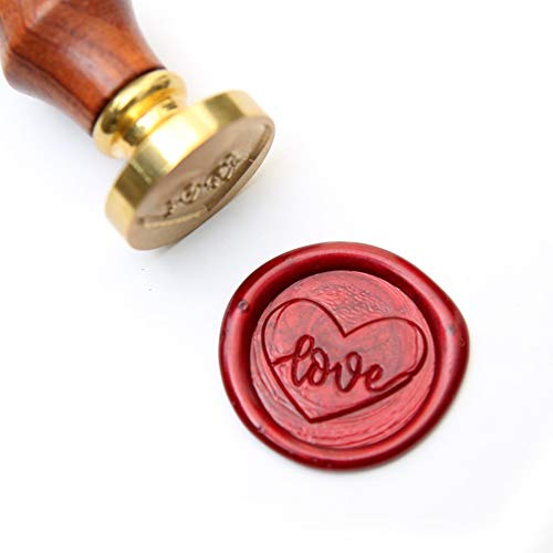 UNIQOOO Arts & Crafts Valentine's Day Love Heart Wax Seal Stamp Kit, 2 Wick Wax Sticks Pink & Red, Great Embellishment of Cards, Envelopes, Wedding Invitations, Wine Packages, Gift Idea