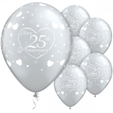 Happy 25th Anniversary Hearts Pack of 6 Balloons