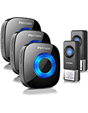 Physen Model CW Waterproof Wireless Doorbell kit with 2 Buttons and 3 Plugin Receivers,Operating at 1000 feet Long Range,4 Volume Levels and 52 Melodies Chimes,No Battery Required for Receiver,Black
