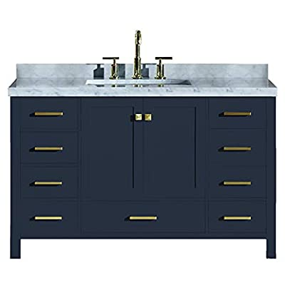 "ARIEL Cambridge A055SCWRVOMNB 55"" Inch Single Rectangular Sink Solid Wood Midnight Blue Bathroom Vanity Cabinet with 1.5"" Inch Edge White Carrara Marble Countertop - ✅ CONSTRUCTION: Experience the luxury of having the well-crafted cabinetry that will make you undergo a refreshing experience like never before. ARIEL brings to you the finest bathroom vanities that will not just add value to your bathroom décor but also make the access to toiletries much easier ✅ DESIGN: Single sink vanity cabinet with 2 soft-closing doors with adjustable hinges and 9 full-extension self-closing drawers with under-mount drawer glides for added stability to meet all your storage needs. Your energizing splashes with the water will not deteriorate the supreme Solid hardwood plywood construction ✅ FEATURES: Carrara White Marble countertop with 1.5"" edge and matching backsplash. Painted with midnight blue to complement your contemporary bathroom space. 1 UPC certified rectangular ceramic under-mount sink and satin brass finish hardware included - bathroom-vanities, bathroom-fixtures-hardware, bathroom - 41koxJcZWxL. SS400  -"