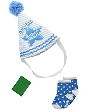 Baby Boys' Super Star Birthday Hat and Bootie Set