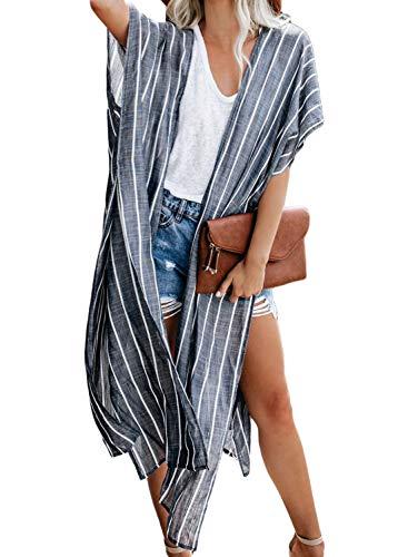 (Sidefeel Women Summer Striped Kimono Cardigan Beach Outwear One Size Blue)