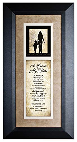 (Dexsa A Prayer for My Mom Wood Wall Art Frame Plaque | 8 inches x 16 inches | Hanger for Hanging | Dear God I Gratefully Thank You for Giving me My Mom James Lawrence)