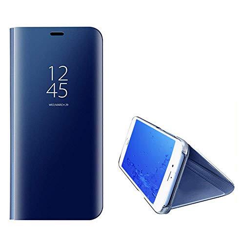 Yobby Luxe Coque Miroir pour Huawei P Smart Plus,Coque Huawei Nova 3i Placage La Technologie Intelligent Vue Fentre Supporter PC Flip Cover Svelte Protecteur Housse Etui-Gold Bleu