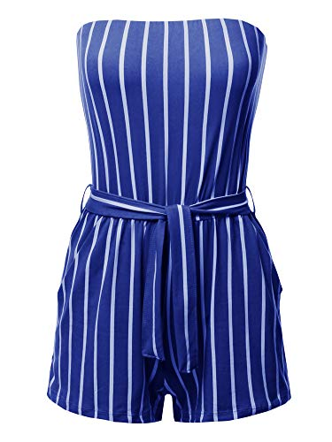 Made by Emma Pinstripe Print Tube Romper Beachwear One-Piece Jumpsuit Blue M